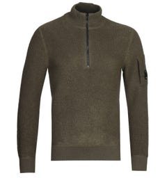 CP Company Quarter Zip Green Knit Sweater
