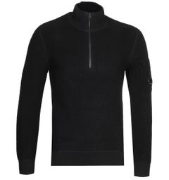 CP Company Quarter Zip Black Knit Sweater