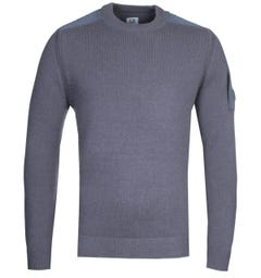 CP Company Lens Crew Neck Knit Blue Sweater