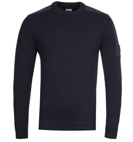 CP Company Lens Crew Neck Knit Navy Sweater