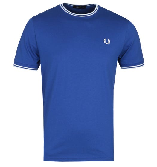 Fred Perry Twin Tipped Ocean Blue Ringer T-Shirt