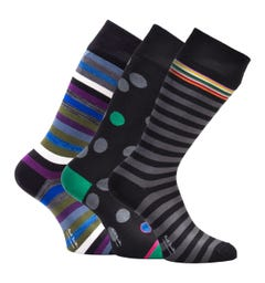 PS Paul Smith 3 Pack Stripes & Spots Black Socks