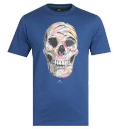 PS Paul Smith Skull Print Navy T-Shirt