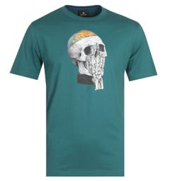 PS Paul Smith Globe Skull Teal T-Shirt