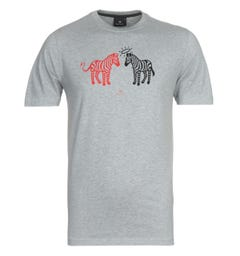 PS Paul Smith Halo Devil Zebra Print Grey T-Shirt