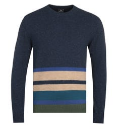 PS Paul Smith Stripe Navy Knit Sweater
