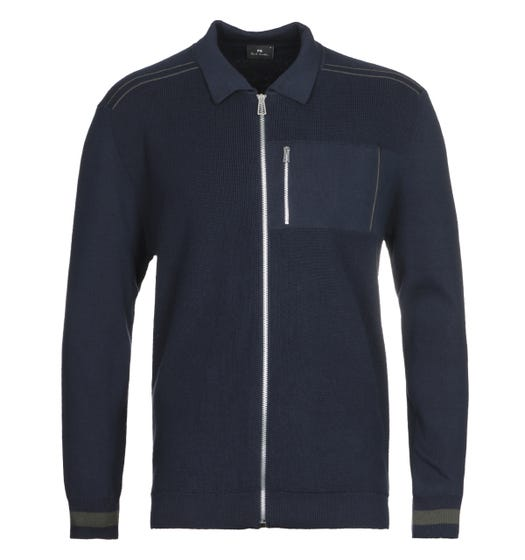 PS Paul Smith Navy Collared Cotton Zip Cardigan