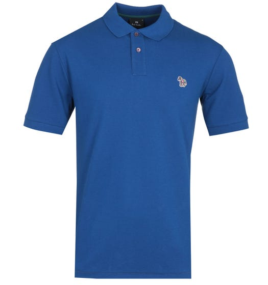 PS Paul Smith Regular Fit Zebra Logo Ocean Blue Polo Shirt
