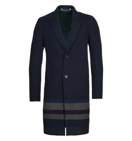 PS Paul Smith Wool Blend Navy Coat