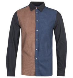 PS Paul Smith Brown & Blue Tailored Fit Long Sleeve Shirt