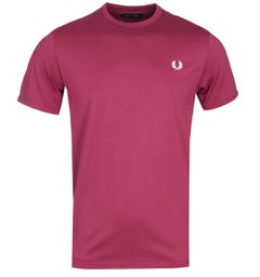 Fred Perry Ringer Burgundy T-Shirt
