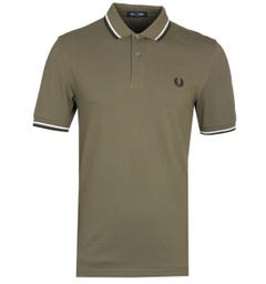 Fred Perry M3600 Twin Tipped Military Green Polo Shirt