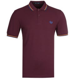 Fred Perry M3600 Twin Tipped Mahogany & Blue Polo Shirt