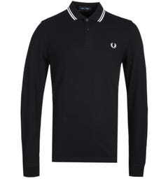 Fred Perry Twin Tipped Black Long Sleeve Polo Shirt