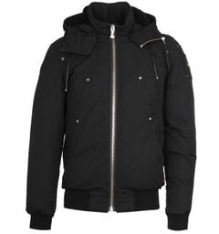 Moose Knuckles Black Hooded Bomber