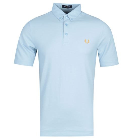 Fred Perry Button Down Pale Blue Polo Shirt
