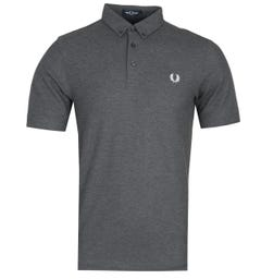 Fred Perry Button Down Grey Polo Shirt