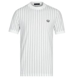 Fred Perry Vertical Stripe Pique White T-Shirt