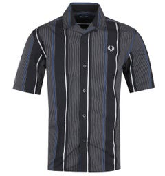 Fred Perry Tri-Colour Striped Revere Collar Black Short Sleeve Shirt