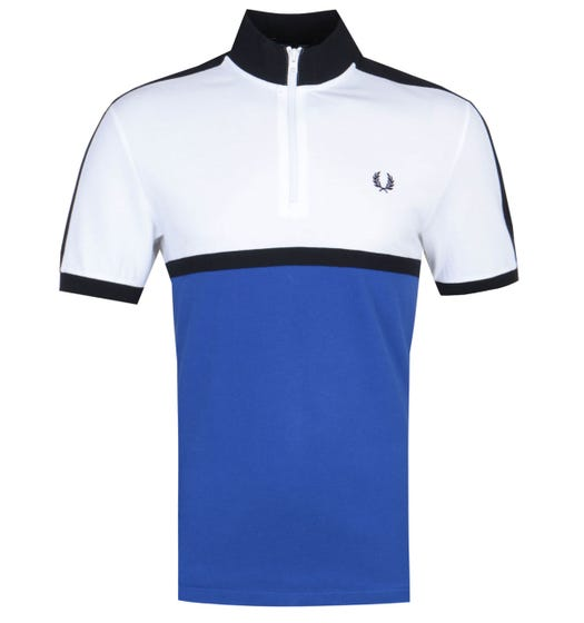 Fred Perry Colour Block White & Bright Regal Blue Polo Shirt