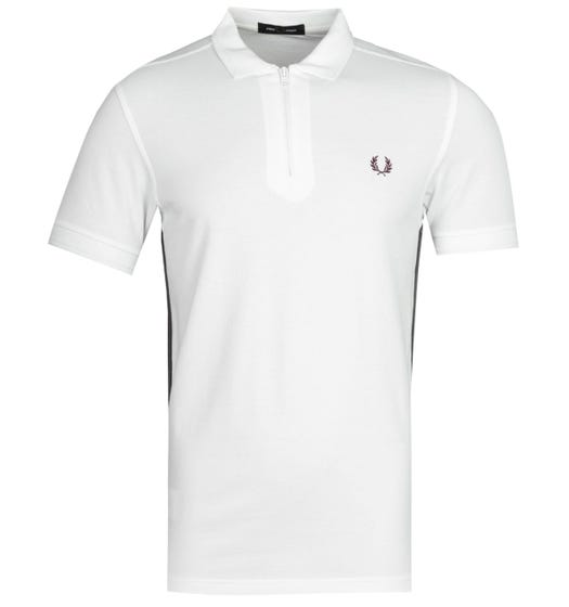 Fred Perry Tapered Zip White Polo Shirt