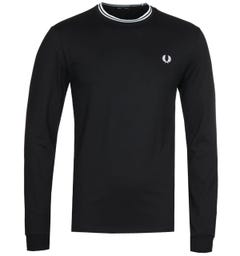 Fred Perry Twin Tipped Long Sleeve Black T-Shirt