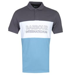 Barbour International Dusky Grey Trim-Tone Bold Polo Shirt