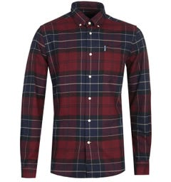 Barbour Lustleigh Burgundy Red Tartan Tailored Fit Shirt