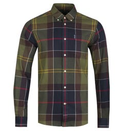 Barbour Tailored Fit Olive Green Tartan Shirt