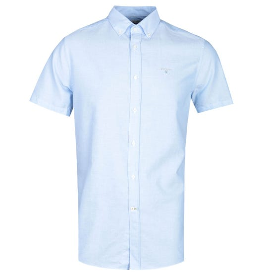 Barbour Tailored Fit Short Sleeve Sky Blue Oxford Shirt