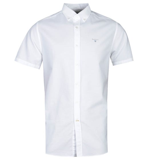 Barbour Tailored Fit Short Sleeve White Oxford Shirt