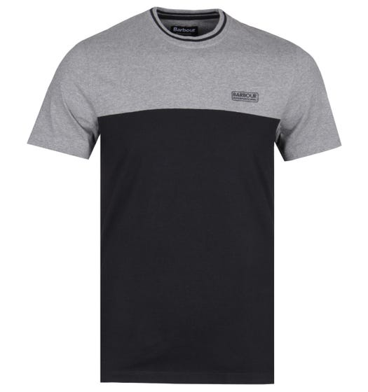 Barbour International Contrast Panel Black & Grey Marl T-Shirt