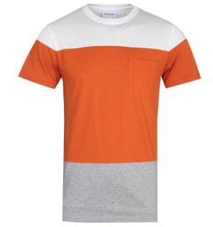 Norse Projects Niels Colour Block Orange, White & Grey T-Shirt