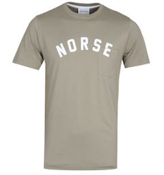 Norse Projects Niels Ivy Logo Khaki T-Shirt