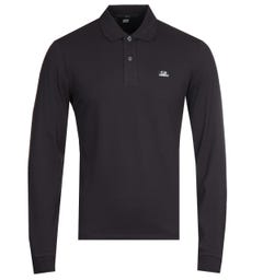 CP Company Black Long Sleeve Polo Shirt