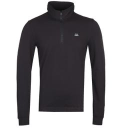 CP Company Black Quarter-Zip Polo Shirt