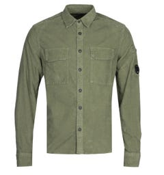 CP Company Long Sleeve Green Corduroy Shirt
