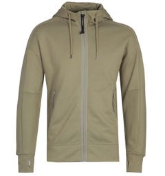 CP Company Full Zip Diagonal Fleece Olive Google Hoodie