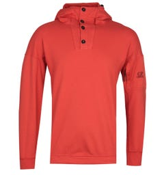 CP Company Red Button Hooded Sweatshirt