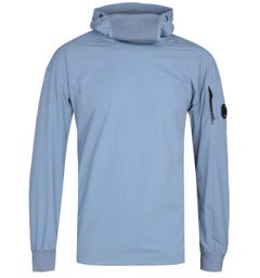 CP Company Pop Over Nylon Blue Hoodie