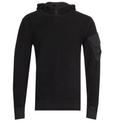 CP Company Polar Fleece Black Hooded Sweatshirt