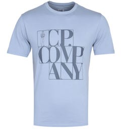 CP Company Large Block Logo Steel Blue T-Shirt