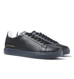 Armani Exchange Lace Up Black Leather Trainers
