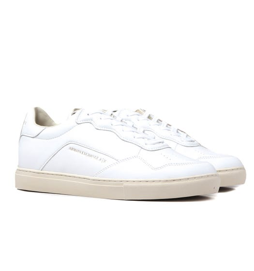 Armani Exchange perforated White Leather Trainers