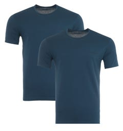Emporio Armani Loungewear 2 Pack Stretch Cotton T-Shirts - Abyss Blue