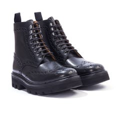 Grenson Fred Ultralight Leather Brogue Boots - Black