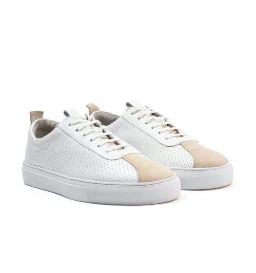 Grenson Sneaker 1 Perforated Leather Trainers - White