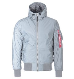 Alpha Industries MA-1 Reflective Hooded Jacket - Silver