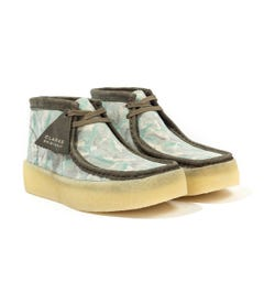 Clarks Originals Wallabee Cup Leather Boots - Green Camo