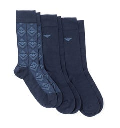 Emporio Armani Loungewear 3 Pack Stretch Cotton Socks - Navy Patterned